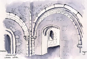 Denny : Chapel - Crossing upper level - Drawing by John Yarnold