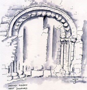 Denny : west doorway - Drawing by John Yarnold