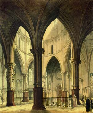 Temple de Londres : The Round (1809) - Pugin and Rowlandson