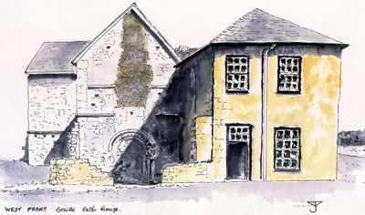 Denny : Main building from west front - Drawing by John Yarnold