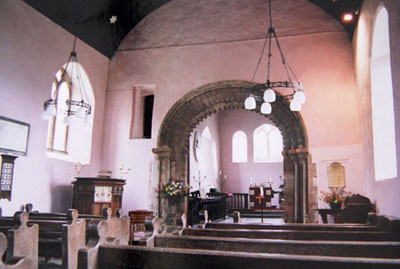 Garway : Inside of nave facing east - Photo by John Yarnold